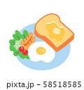 朝ごはん トーストと目玉焼き 58518585