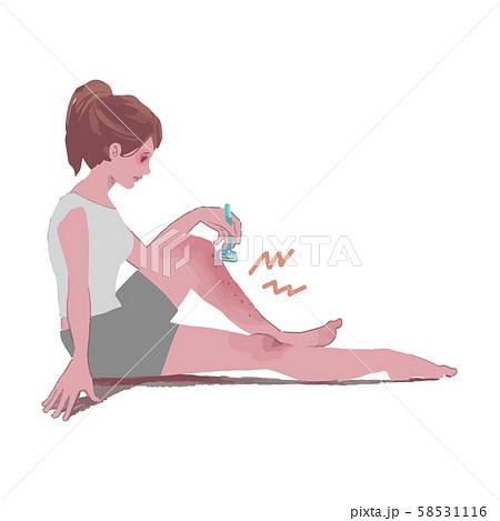 足の剃刀負けに悩む女性のイラスト 58531116