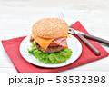 手作りの「ベーコン チーズ レタス ハンバーガー」です。 58532398