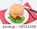 手作りの「ベーコン チーズ レタス ハンバーガー」です。 58532399