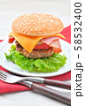 手作りの「ベーコン チーズ レタス ハンバーガー」です。 58532400
