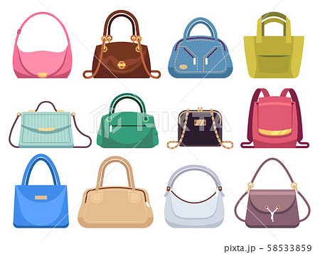 Ladies bags. Womens handbags with fashion accessories. Leather female clutch and purse vintage 58533859