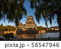 《長野県》黄金色の松本城・夕景 58547946
