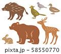 狩猟鳥獣の2色シルエットイラストセット 58550770