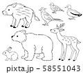 狩猟鳥獣の手描き風線画イラストセット 58551043