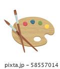絵の具のパレットと筆 58557014