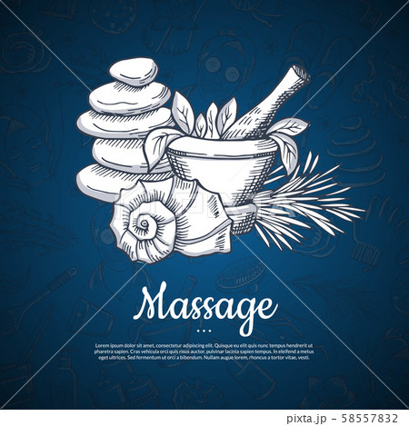 Vector hand drawn spa elements background with place for text illustration 58557832