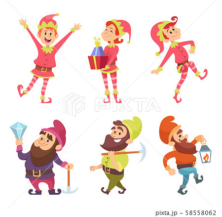 Dwarves and elves. Funny fairytale characters in dynamic poses 58558062