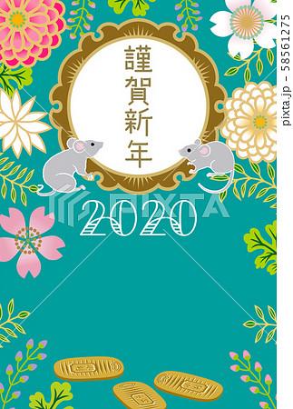 2020年 子年年賀状 2匹のねずみと小判と和花柄 58561275