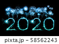 2020 happy new year fireworks written sparklers at 58562243