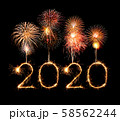 2020 happy new year fireworks written sparklers at 58562244