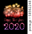 2020 happy new year fireworks written sparklers at 58562248