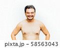 Asian man fat body with beard chest, abdomen nude 58563043