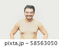 Asian man fat body with beard chest, abdomen nude 58563050