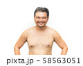 Asian man fat body with beard chest, abdomen nude 58563051