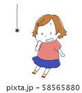 蜘蛛を見て驚く女の子のイラスト 58565880