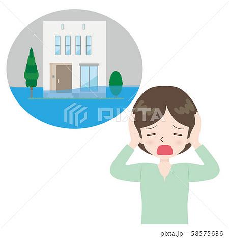嘆く女性 冠水した住宅 58575636