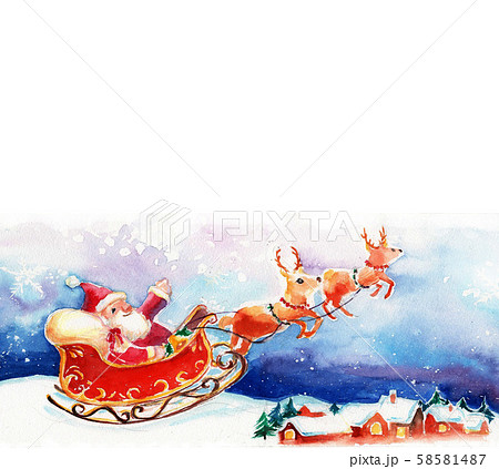 クリスマス サンタ 背景 イラスト 水彩 58581487