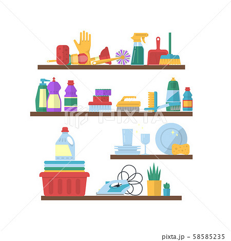 Vector cleaning flat elements on shelves illustration 58585235