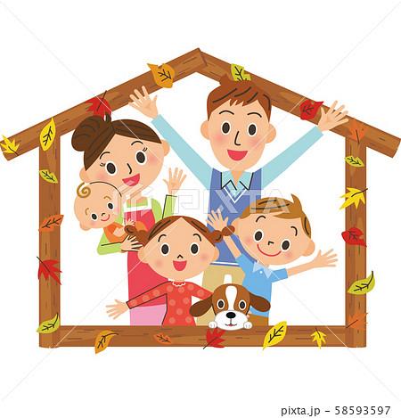 紅葉と家のフレームと仲良し家族 58593597