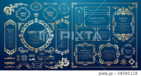 装飾デザイン 美しい額 フレームデザイン テンプレート アンティーク ビンテージ ラグジュアリー 58595118