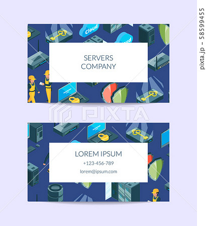 Vector electronic system of data center icons business card 58599455