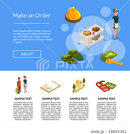 Vector isometric hotel icons landing page template illustration 58603361
