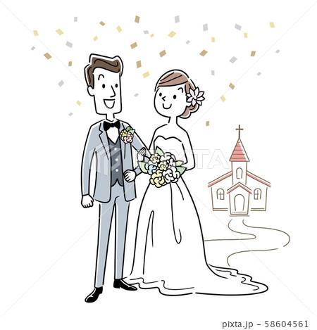イラスト素材:結婚する男性と女性 58604561