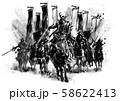 戦国武将 出陣_01 モノクロ 58622413