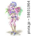 サンバを踊る女性 58631964