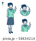 simple school girl Green Blazer_pointing hand sign 58634214