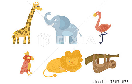 Set of exotic cartoon animals. Vector illustration. 58634673