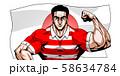 ラガー,ラグビー,スポーツ,日本代表,劇画,漫画,筋肉,ボディビル,マッチョ,ポーズ,正面,白背景, 58634784