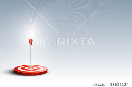 Target with arrow. Targets hit in the center by an arrow with abstract background. Concept target of business and marketing. Vector illustration 58635124