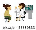 医者と患者。 女医と女性患者。 診察をする医師と患者。 診察室のイメージ。 58639333
