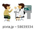 医者と患者。 女医と女性患者。 診察をする医師と患者。 診察室のイメージ。 58639334
