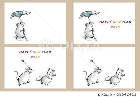 鳥獣戯画風ねずみ年賀状セットのイラスト素材 [58642413] , PIXTA