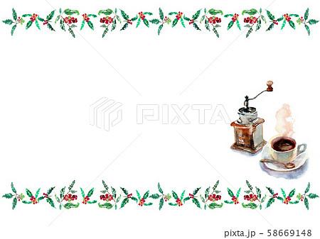 カフェ イラスト 水彩 コーヒーミル コーヒー 58669148