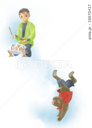 【イラスト】猿まわし 58670437