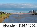 日本の東京都市景観  台風19号一夜明け・増水・泥水の多摩川。多くの見学者であふれた=13日午後 58674103