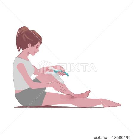 ムダ毛処理をする女性のイラスト 58680496