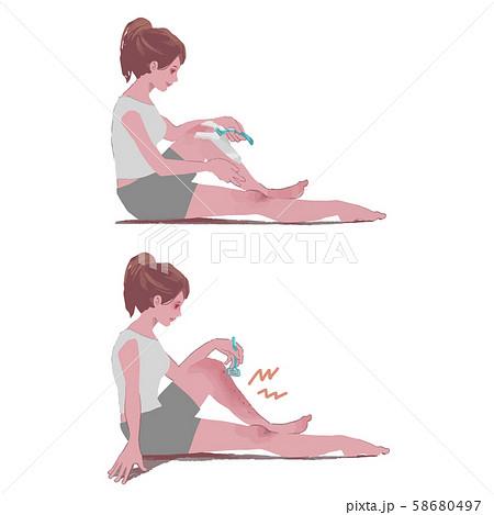 ムダ毛処理をする女性 剃刀負けに悩む女性 イラスト 58680497