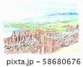 世界遺産の街並・イタリア・タオルミーナからのエトナ山 58680676