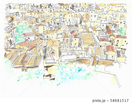 世界遺産の街並・イタリア・マテーラの洞窟住居群 58681517