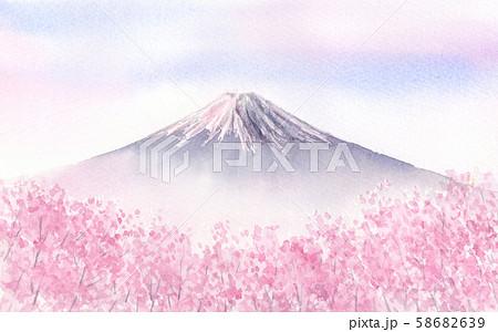 富士山と満開の桜 水彩イラスト 58682639