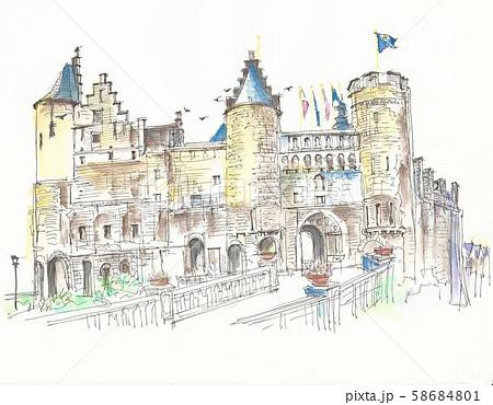 ヨーロッパの街並み・ベルギー・アントワープの城塞 58684801