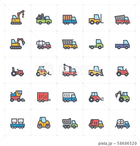 Icon set - construction machine full color vector illustration 58686520