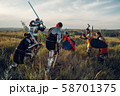 Medieval knights fight with sword and axe 58701375