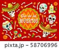 Dia de los Muertos sugar skulls, marigold flowers 58706996