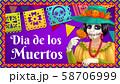 Dia de los Muertos Catrina with marigold and flags 58706999